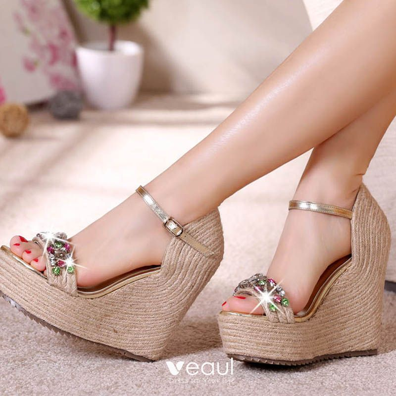 Chic / Beautiful Champagne Outdoor / Garden Womens Sandals 2017 PU Braid Rhinestone Wedges Open / Peep Toe Sandals