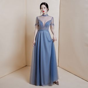 Sexy Ocean Blue See-through Dancing Evening Dresses  2020 A-Line / Princess High Neck Short Sleeve Beading Sequins Floor-Length / Long Ruffle Formal Dresses