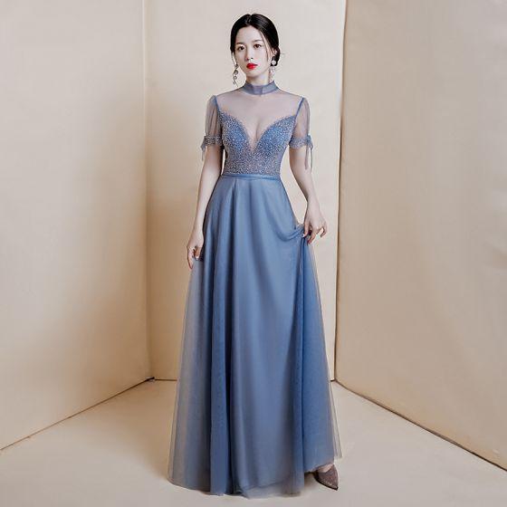 Sexy Ocean Blue See-through Dancing Evening Dresses  2020 A-Line / Princess High Neck Short Sleeve Beading Sequins Floor-Length / Long Ruffle Formal Dresses