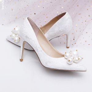 Charmerende Hvide Brudesko 2019 Læder Med Blonder Perle 9 cm Stiletter Spidse Tå Bryllup Pumps