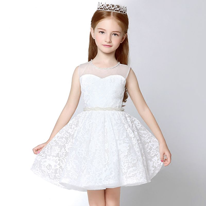 Chic / Beautiful Church Wedding Party Dresses 2017 Flower Girl Dresses White Short Ball Gown Scoop Neck Sleeveless Pearl Sash Lace Appliques