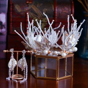 Luxus / Herrlich Weiß Hochzeit Haarschmuck Braut  2019 Metall Diadem Ohrringe Kristall Strass Blatt Perlenstickerei Quaste Brautaccessoires