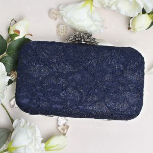 Chic / Belle Bleu Marine Glitter Polyester Pochette 2019