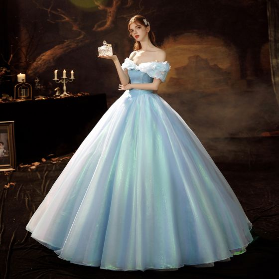 Cinderella Sky Blue Organza Dancing Prom Dresses 2021 Ball Gown Off-The-Shoulder Short Sleeve Butterfly Sequins Floor-Length / Long Ruffle Backless Formal Dresses