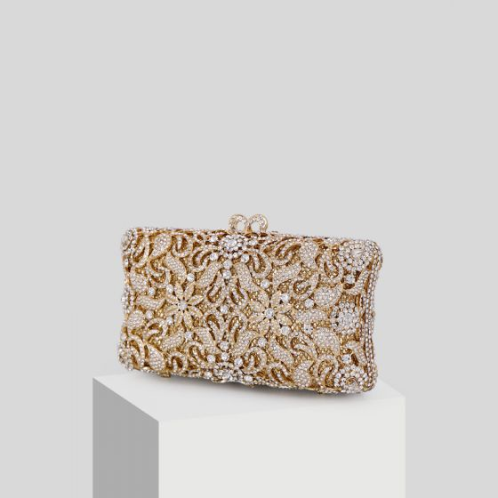 Luksus Gull Rhinestone Glitter Håndvesken  2019