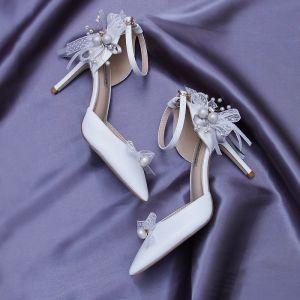 Unique Ivoire Chaussure De Mariée 2020 En Dentelle Perle Faux Diamant Noeud Bride Cheville 9 cm Talons Aiguilles À Bout Pointu Mariage Talons