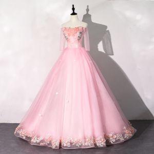 Hada de las flores Rosa Vestidos de gala 2020 Ball Gown Fuera Del Hombro Perla Rhinestone Apliques Con Encaje Flor 1/2 Ærmer Sin Espalda Largos Vestidos Formales