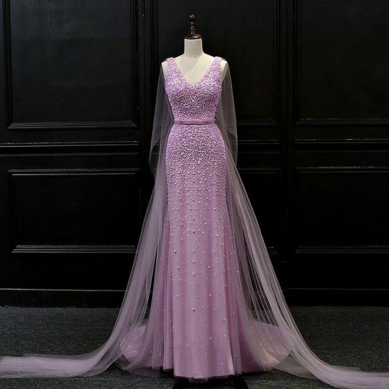 Luksusowe Liliowy Sukienki Wieczorowe 2018 Syrena / Rozkloszowane V-Szyja Bez Rękawów Frezowanie Szarfa Trenem Watteau Wzburzyć Bez Pleców Sukienki Wizytowe