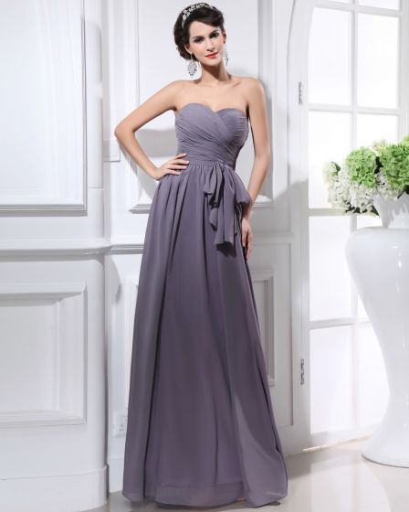 Chiffon Sweetheart Sash Backless Floor Length Bridesmaid Dresses