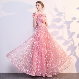 Modern / Fashion Candy Pink Evening Dresses  2018 A-Line / Princess Star Embroidered Rhinestone Off-The-Shoulder Sleeveless Backless Floor-Length / Long Formal Dresses