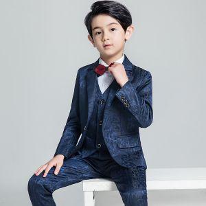 Modest / Simple Navy Blue Boys Wedding Suits 2019 Coat Pants Shirt Tie Vest Corsage