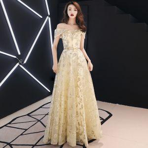 Modern / Fashion Gold Evening Dresses  2019 A-Line / Princess Off-The-Shoulder Glitter Sequins Metal Sash Short Sleeve Backless Floor-Length / Long Formal Dresses