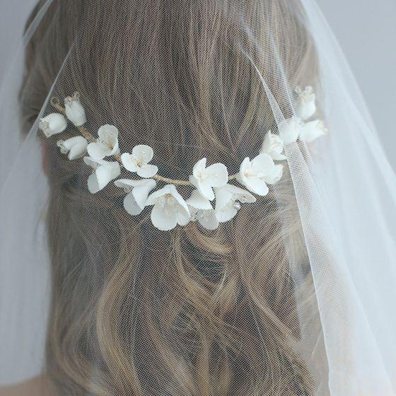 Blumenfee Gold Hochzeit Kamm Haarschmuck Braut  2020 Metall Kristall Blumen Kopfschmuck Ohrringe Brautaccessoires