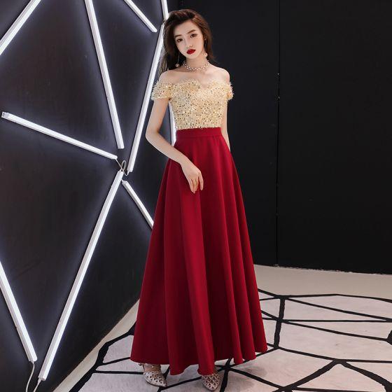 Modern / Fashion Burgundy Evening Dresses  2018 A-Line / Princess Tassel Sequins Off-The-Shoulder Backless Short Sleeve Ankle Length Formal Dresses