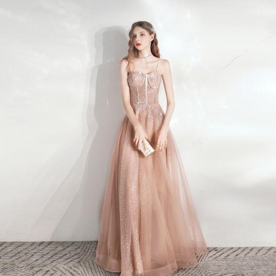Piękne Szampan Sukienki Na Bal 2021 Princessa Spaghetti Pasy Frezowanie Z Koronki Kwiat Bez Rękawów Bez Pleców Długie Sukienki Wizytowe