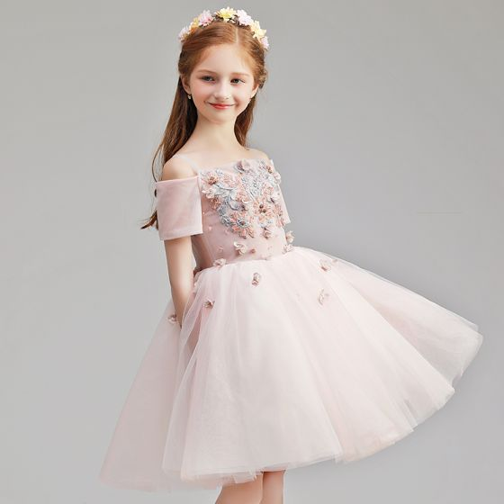 Chic / Beautiful Blushing Pink Birthday Flower Girl Dresses 2020 Ball Gown Off-The-Shoulder Short Sleeve Backless Appliques Lace Flower Beading Short Ruffle