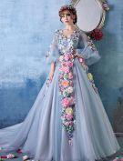 2015 Bunte Blumen-fee Eine Online-schulter V-ausschnitt Handgefertigten Blumen Organza Ballkleid