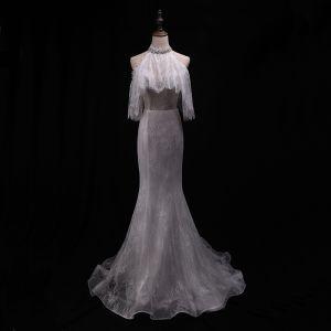 Elegante Ivory / Creme Brautkleider 2018 Mermaid Spitze Perlenstickerei Pailletten Neckholder Rückenfreies Kurze Ärmel Hof-Schleppe Hochzeit