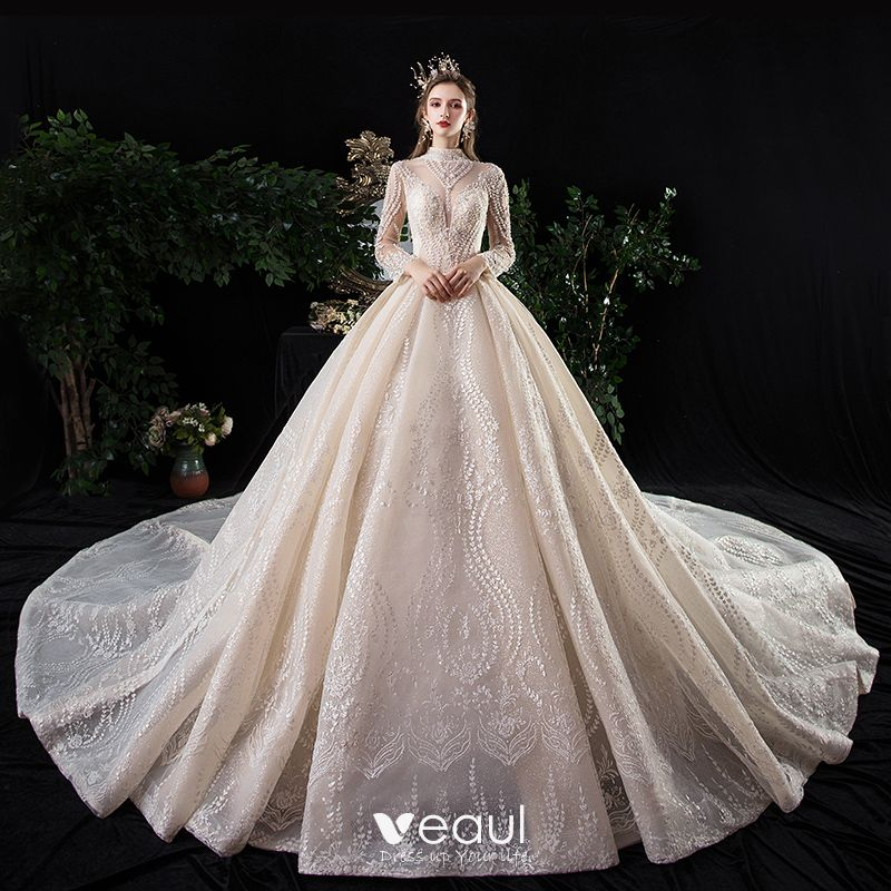 Drop Sleeve Wedding Gowns With: Vintage / Retro Champagne See-through Wedding Dresses 2020