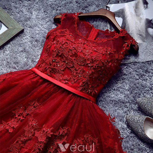 Belle Robe De Cocktail Rouge 2016 Robe De Ceremonie Courte En Dentelle Avec Ceinture