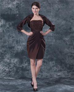 Bretelles Longueur Au Genou En Mousseline De Soie Perles Meres De La Mariée Robe Invites Speciaux