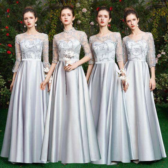 Proste / Simple Szary Sukienki Dla Druhen 2021 Princessa Wycięciem 1/2 Rękawy Bez Pleców Długie Sukienki Na Wesele