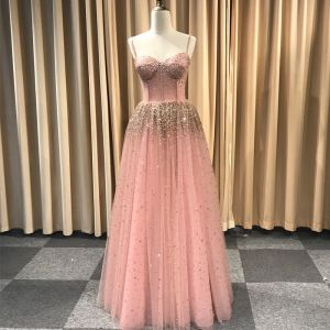 Stunning Pearl Pink Glitter Evening Dresses  2019 Princess Spaghetti Straps Sleeveless Handmade  Beading Floor-Length / Long Ruffle Backless Formal Dresses