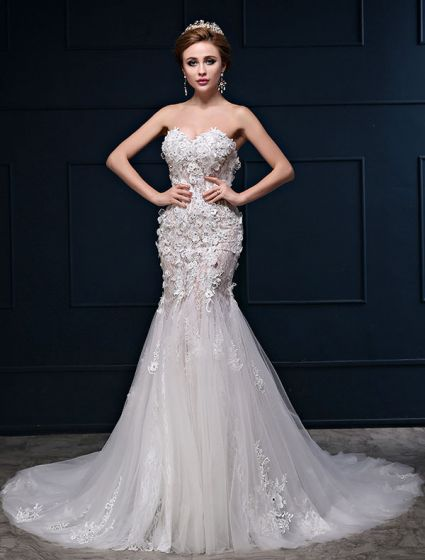 Sexy Mermaid Sweetheart Neckline Sleeveless Lace Flowers Wedding Dress