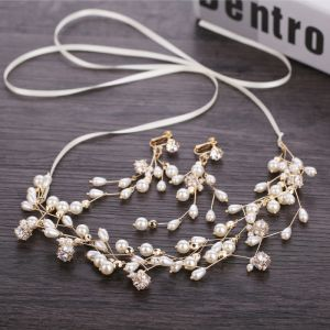 Elegant Gold Wedding Headbands Bridal Hair Accessories 2019 Metal Zircon Pearl Headpieces Earrings Accessories