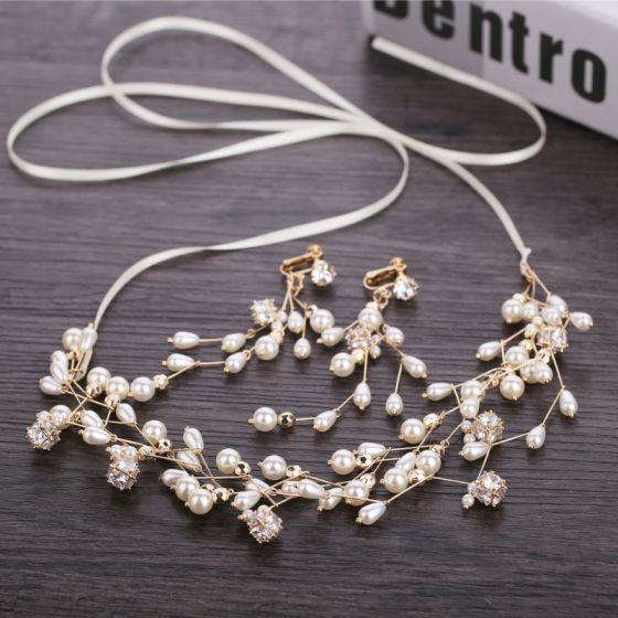 Elegant Gold Wedding Headbands Bridal Hair Accessories 2019 Metal Zircon Pearl Headpieces Earrings Accessories