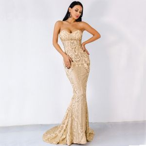 Sexy Gold Evening Dresses  2020 Trumpet / Mermaid Sweetheart Sleeveless Appliques Sequins Sweep Train Backless Formal Dresses
