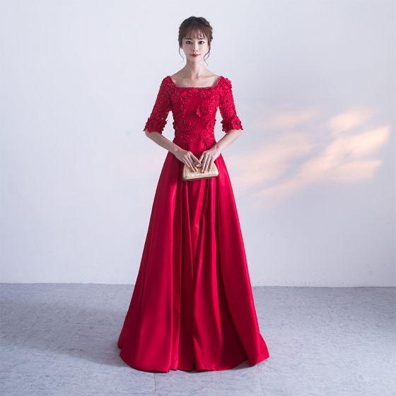 Schöne Rot Abendkleider 2017 A Linie U-Ausschnitt Charmeuse Applikationen Rückenfreies Perlenstickerei Handgefertigt Abend Festliche Kleider