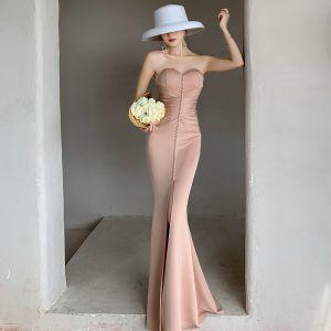 Fashion Beige Evening Dresses  2020 Trumpet / Mermaid Sweetheart Sleeveless Split Front Floor-Length / Long Backless Formal Dresses