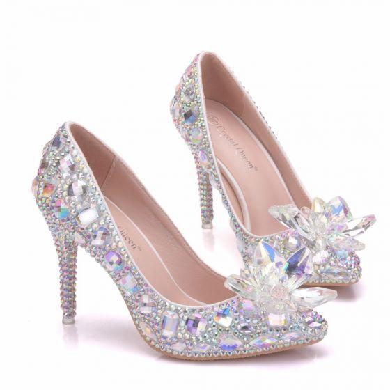 Charmant Multi-Couleurs Cendrillon Cristal Chaussure De Mariée 2019 Faux Diamant 9 cm Talons Aiguilles À Bout Pointu Mariage Escarpins