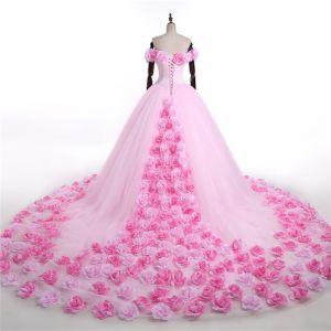 Étourdissant Rose Bonbon Fleur Robe De Mariée 2017 V-Cou De l'épaule Volants Tulle Robe Boule Robe De Bal Chapel Train