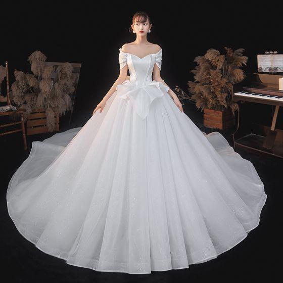 High-end Elegant Ivory Glitter Brudekjoler 2021 Balkjole Off-The-Shoulder Kort Ærme Halterneck Royal Train Bryllup
