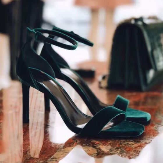 Sexy Dark Green Cocktail Party Suede Womens Sandals 2021 Leather Ankle Strap 10 cm Stiletto Heels Open / Peep Toe High Heels