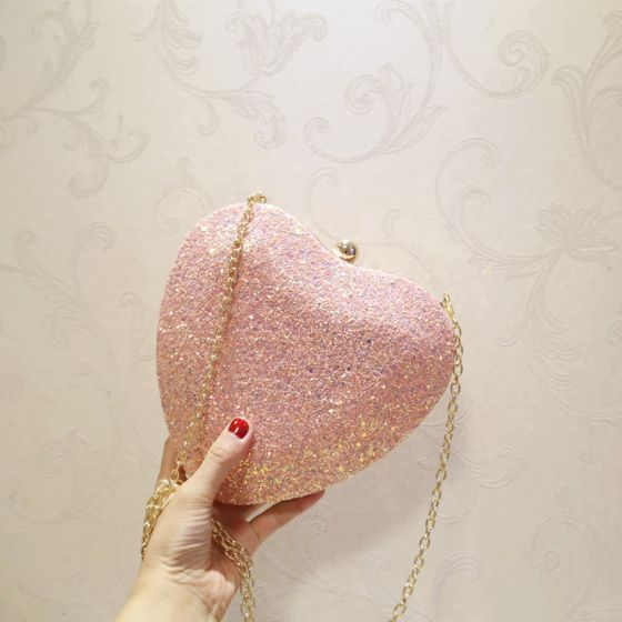 Lovely Candy Pink Glitter Heart-shaped Clutch Bags 2020