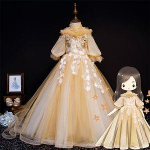 Vintage Gold Blumenmädchenkleider 2019 Prinzessin Stehkragen Geschwollenes 1/2 Ärmel Applikationen Spitze Perlenstickerei Perle Strass Hof-Schleppe Rüschen Kleider Für Hochzeit