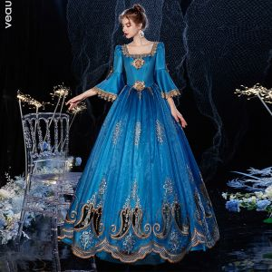 robe bleu roi longue dentelle