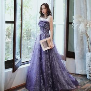 Charming Purple Evening Dresses  2020 A-Line / Princess Strapless Beading Sequins Lace Flower Sleeveless Backless Floor-Length / Long Formal Dresses