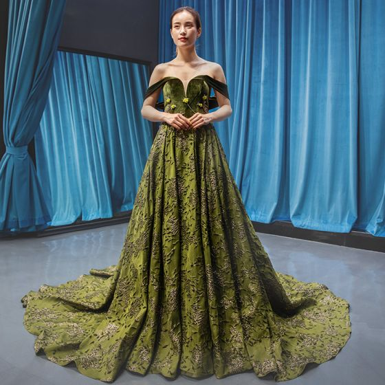 High-end Clover Green Velour Evening Dresses  2020 A-Line / Princess Off-The-Shoulder Short Sleeve Appliques Lace Beading Court Train Ruffle Backless Formal Dresses
