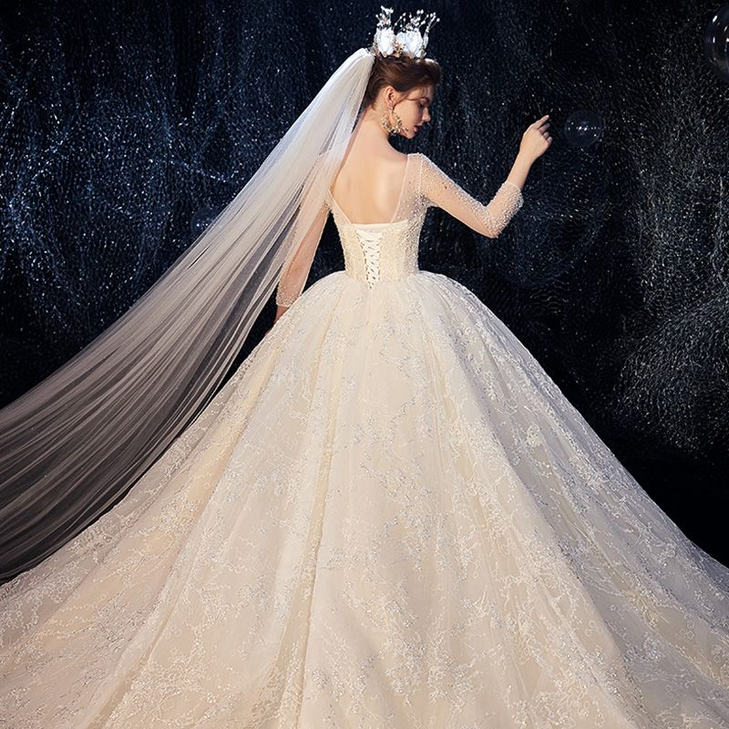 Luxury / Gorgeous Champagne See-through Wedding Dresses 2020 Ball Gown Square Neckline 3/4 Sleeve Backless Glitter Tulle Beading Cathedral Train Ruffle