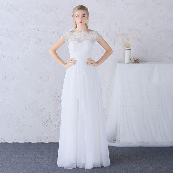 Schöne Strand Brautkleider 2017 Weiß Etui Lange Rundhalsausschnitt Ärmellos Rückenfreies Mit Spitze Applikationen