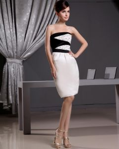 Stylish Strapless Beading Sleeveless Zipper Knee Length Cocktail Dress