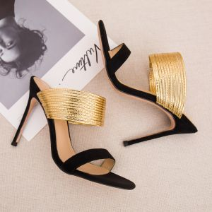 Modest / Simple Summer Black Gold Womens Sandals 2018 Casual Suede Leather 10 cm Stiletto Heels Open / Peep Toe High Heels