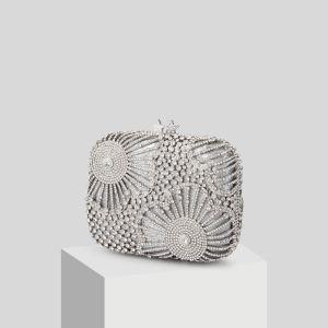 Glitzernden Silber Strass Clutch Tasche 2019