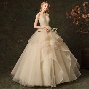 Elegant Champagne Wedding Dresses 2019 Ball Gown Backless Spaghetti Straps Sleeveless Cascading Ruffles Floor-Length / Long