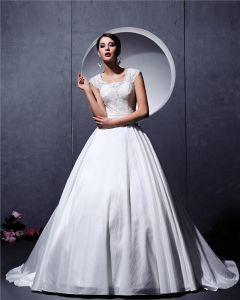 Satin-spitze-rüsche Perlen Scoop Kapelle A-linie Brautkleider Hochzeitskleid