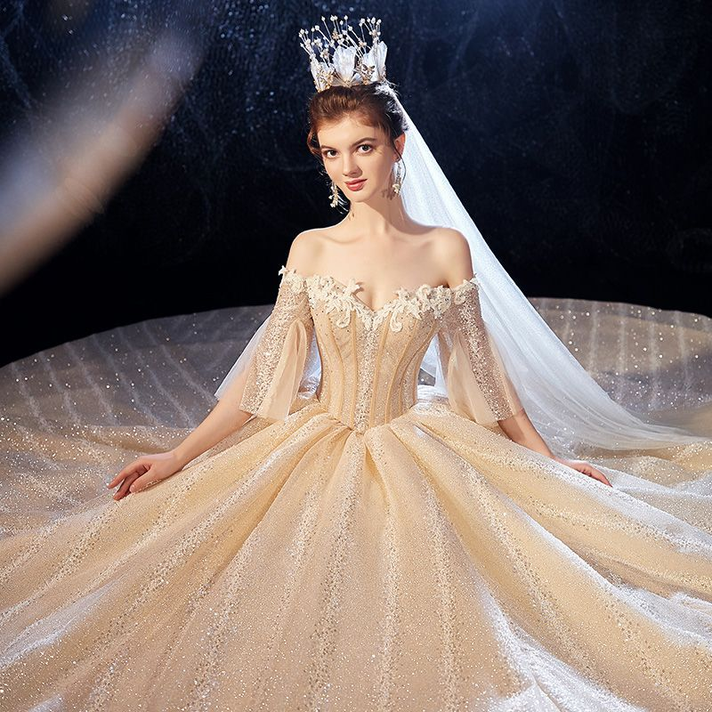 Sparkly Champagne Wedding Dresses 2020 Ball Gown Off-The-Shoulder Bell sleeves Backless Glitter Tulle Sequins Appliques Lace Beading Cathedral Train Ruffle